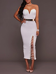 Women's Party Club Sexy Simple Bodycon Dress,Solid Strapless Midi Sleeveless Polyester Summer Fall High Rise Micro-elastic Medium