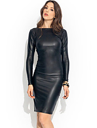 Amazon selling women's long-sleeved leather Midi clubwear pencil skirt