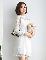Sign Spring Dress 2017 new Korean ladies solid color lace long-sleeved round neck dress
