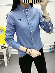 2017 Water collar shirt European and American wild sanding casual oxford cotton long-sleeved shirt Slim female