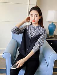 2017 Frühling koreanische lose Nähte Plaid Langarmshirt wawa shan weibliche kleine frische Bottoming Shirt Gezeiten