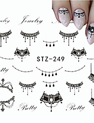 5pcs/set Sweet Style Hot Fashion Nail Art Beautiful Black Necklace Jewelry Design Decoration Sticker Lace Belt Water Transfer Decals STZ-249