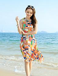 novas chiffon boêmio vestido floral saias praia fungo sem mangas colete vestido
