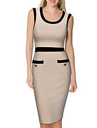 Women's Going out Shift Dress,Solid Round Neck Knee-length Sleeveless Polyester Spring Summer Mid Rise Inelastic Thin Medium