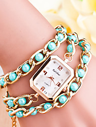 Women's Fashion Pearl Golden Square Clip Pearl Watches