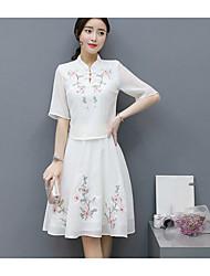 Mode jupe costume femme 2017 nouvelle version coréenne de la longue section rétro de la robe brodée en soie de la cinquième partie