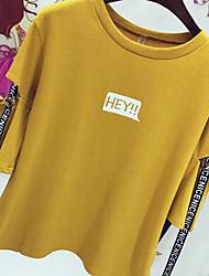 De vrais caractères de style harajuku imprimés en cinq manches creuses en vrac t-shirt à manches courtes chemise ruban à couture étudiants