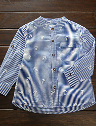 Casual/Daily Striped Print Shirt,Cotton Spring