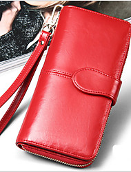 Fashion Women's Genuine Leather Wallet Long Oil Wax Multi Card Wallet Purse Clutch Wallets