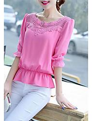 Nouvelle femme coréenne bas de la chemise big yards loose manches courtes t-shirt chemise en dentelle blouse chemise en mousseline de soie