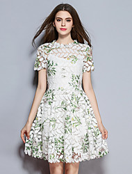 Women's Going out A Line Dress,Floral Round Neck Above Knee Short Sleeve Polyester Summer Mid Rise Inelastic Medium