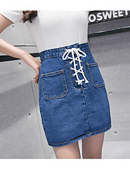 Sign denim Korean Fan College lace skirts A word was thin solid color skirts