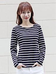 Damen Gestreift Einfach Ausgehen T-shirt,Rundhalsausschnitt Frühling Langarm Baumwolle Mittel