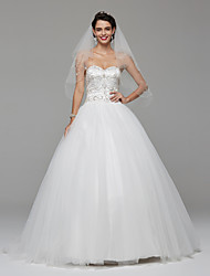 2017 Lanting Bride® Ball Gown Wedding Dress Wedding Dress with Wrap Open Back Sweep / Brush Train Sweetheart Lace Tulle withBeading Draped