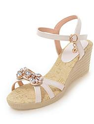 Women's Sandals Summer Fall Slingback PU Office & Career Party & Evening Dress Wedge Heel Rhinestone