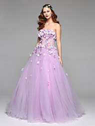 Formal Evening Dress - Elegant A-line Strapless Floor-length Organza Tulle with Beading Flower(s) Pleats