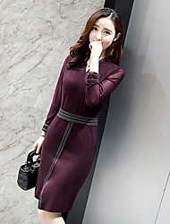 Women's Going out Simple A Line Dress,Solid Boat Neck Knee-length Long Sleeve Silk Spring High Rise Micro-elastic Medium
