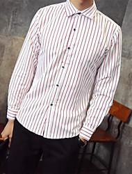Men's Casual/Daily Simple Shirt,Striped Shirt Collar Long Sleeve Cotton