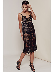 Openwork lace halter dress sexy Europe