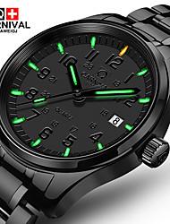 Carnival Hombre Reloj de Moda Reloj de Pulsera Cuarzo Acero Inoxidable Banda Negro Negro