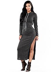 Women's Charcoal Grey Drawstring Hooded Maxi Jersey Dress