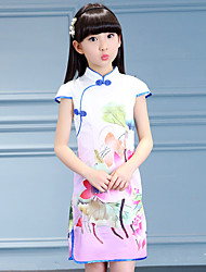 Girl's Cotton Vintage Going out Casual/Daily Holiday Floral Print Dress Cotton Summer Cheongsam Short Sleeve Green Pink