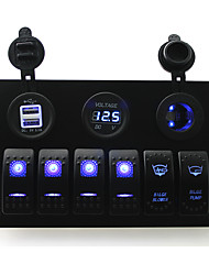 IZTOSS DC 12/24V 6 gang blue rocker switches panel with bilge blower bilge pump switch and 3.1A Dual USB voltmeter led power Socket pre-wired and wiri