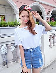Модель реального выстрел сексуальных утечки плечо с короткими рукавами футболка женщин корейской моды сплошного цвета свободно с коротким