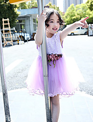 Girl's Fashion And Lovely  Pure Color Aesthetic Hook Flower Big Bowknot Is Bitter Fleabane Bitter Fleabane Princess Dress