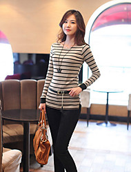 Girls long section bottoming shirt package hip striped 2014 Hitz Women Korean version of the influx of long-sleeved T-shirt