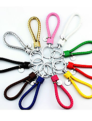 Color Shipped Randomly Key Chain Circular Key Chain Red Black White Green Blue Yellow Gold Leather