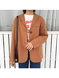 Women's Going out Casual/Daily Simple Spring Blazer,Solid Shirt Collar Long Sleeve Long Others