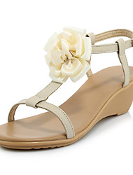 Women's Sandals Summer Fall Slingback Cowhide Office & Career Party & Evening Dress Wedge Heel Flower