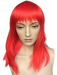 Capless Medium Long Wig Red Women Straight Costume Wig Hairstyle Cosplay Wigs