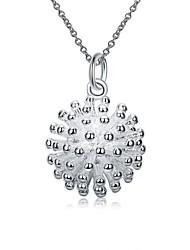 Femme Pendentif de collier Colliers chaînes Bijoux Forme de Fleur Cuivre Plaqué argent AlliageBasique Original Pendant Géométrique Cercle