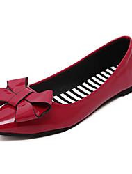 Women's Loafers & Slip-Ons Comfort PU Spring Summer Casual Dress Comfort Bowknot Flat Heel Black Ruby Light Green Flat