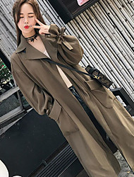 Women's Casual/Daily Simple Summer Fall Coat,Solid V Neck Long Sleeve Long Cotton Polyester