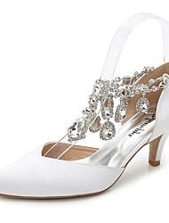 Feminino-Sandálias-D'Orsay Sapatos clube-Salto Agulha-Branco Rosa Claro Azul Real-Seda-Casamento Ar-Livre Escritório & Trabalho Social