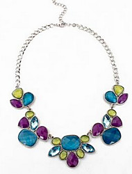 Women's Pendant Necklaces Statement Necklaces Multi-stone Gem Chrome Fashion Euramerican Black Dark Blue Rose Gold Jewelry ForParty