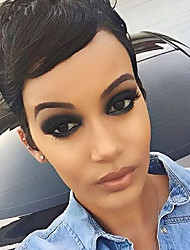 Textured Short Natural Wavy Black Capless Cap Human Hair Wig For Women 2017