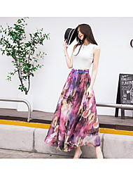 Women's High Rise Beach Holiday Maxi Skirts Swing Floral Summer
