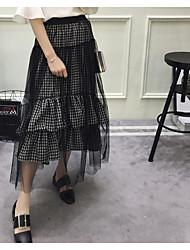 Значок Корейский лето дикий нерегулярный шить клетчатый юбка база юбка чистый вуаль женщина