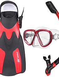 Set de Snorkeling Plongée & Masque et tuba Caoutchouc Verre Silikon Rouge Jaune Bleu Noir-WHALE