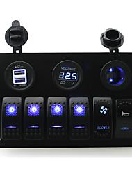 iztoss DC 12 / 24v 6 банды синей коромысла переключатели панель с переключателем вентилятора и рупорной Swith и 3.1а Dual USB вольтметром