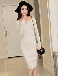 firmare 2016 donne inverno vestito sexy sottile con scollo a V a maniche lunghe pacchetto maglia lunga di rendering sezione hip stretto