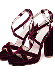 Women's Sandals Summer Club Shoes Satin Fabric Party & Evening Dress Casual Stiletto Heel Buckle