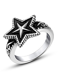 Make Old Black Silver Women Star Rings Stainless Steel Accessories for Men's Rock Punk Jewelry Biker Ring USA Size 7-12#