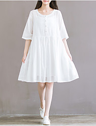 Spot art sleeve dress section bande passante loose cotton dress jupe de fée blanche