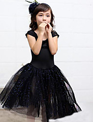 Princess Knee-length Flower Girl Dress - Cotton Tulle Scoop with Sequins