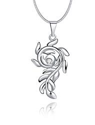 Женский Ожерелья с подвесками Кристалл Стерлинговое серебро Хрусталь Имитация Алмазный В форме цветкаУникальный дизайн С логотипом В виде